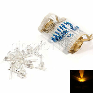 US-Stock-100pcs-LED-5mm-Yellow-Water-Clear-Ultra-Bright-With-12V-DC-Resistors
