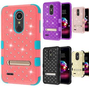 premium selection 0d808 7dd85 For LG K30 HYBRID IMPACT TUFF Dazzling Diamond KICK STAND Phone Case ...