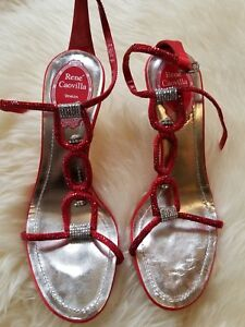 3ea57b3f611 Image is loading Rene-Caovilla-Red-Crystal-High-Heels-Size-36-