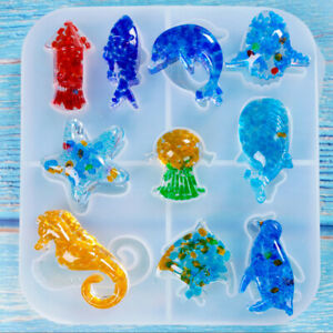 Details About Sea Animal Shaped Silicone Epoxy Resin Molds Diy Jewelry Making Tools Craft Pe