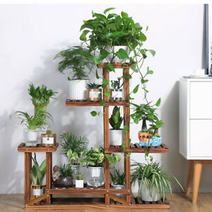 Outdoor Planter Stand Wooden plant flower stand shelves garden planter 5 tier pot display image is loading wooden plant flower stand shelves garden planter 5 workwithnaturefo