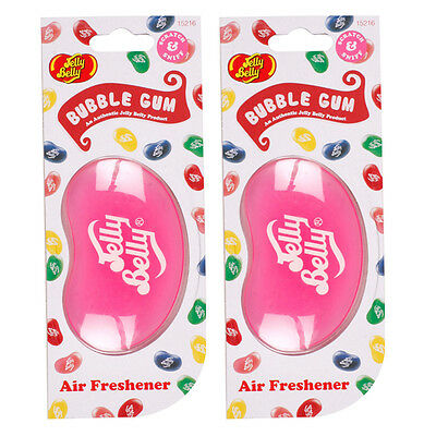 2 x Jelly Belly 3D Hanging Bean Air Freshener Scent Car Home Work - BUBBLEGUM