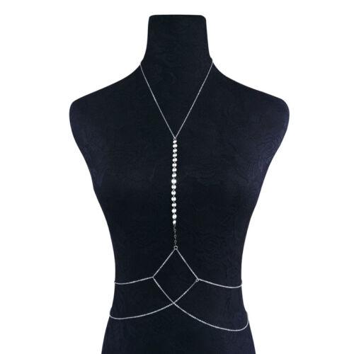 New Women Body Full Metal Body Chain Silver JEWELRY Necklace Bikini Belly Harnes