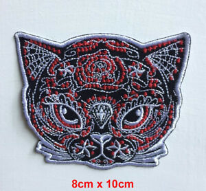 Cute Animal Cat face Art Badge Iron or sew on Embroidered Patch