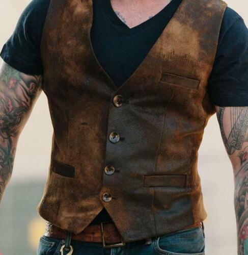 Men/'s Retro Vest Waistcoat Single-breasted Pocket Buttons Sleeveless Jacket Coat