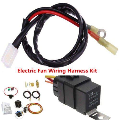 Car Electric Engine Cooling Fan Wiring Harness 185//165 Thermostat 40A Relay Kit