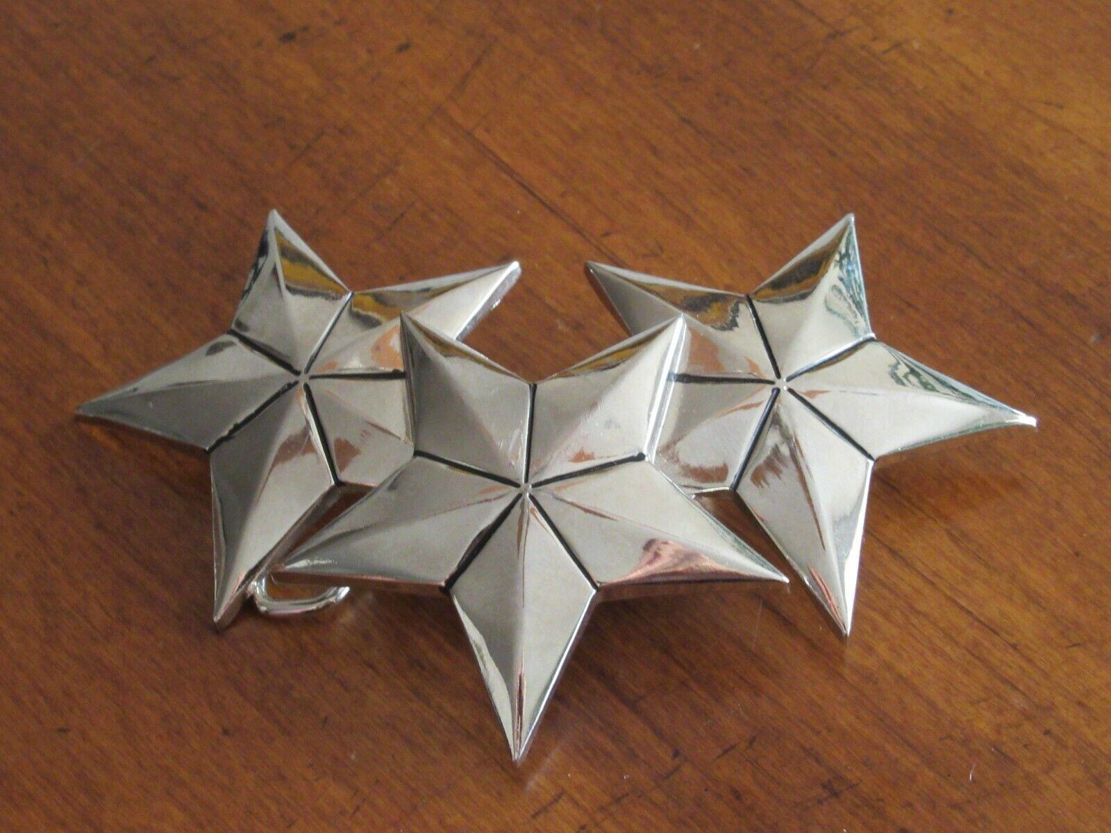 Tristar Silver Tone 3 Stars Belt Buckle by Rock Rebel Cowboy Cowgirl Western