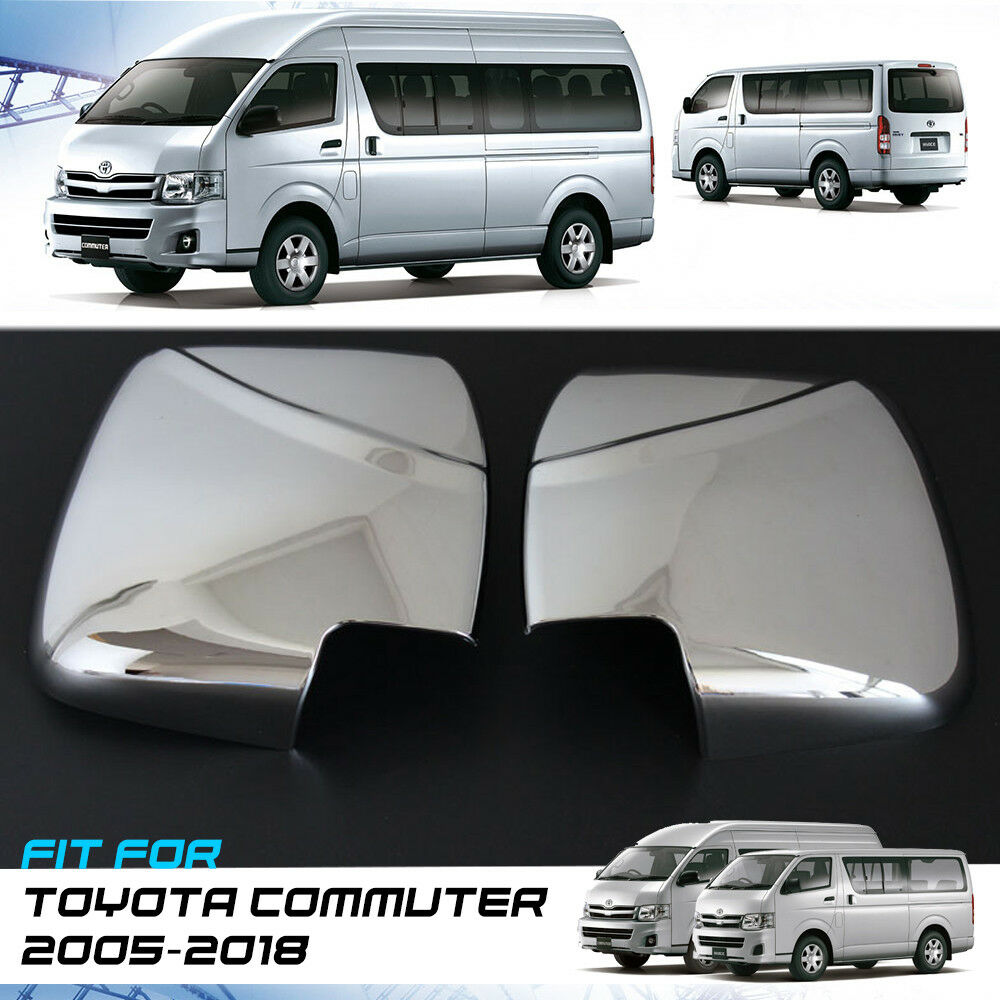CHROME MANUAL MIRROR COVER TRIM FIT FOR TOYOTA HIACE COMMUTER 2005-2018