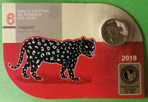 Official Blister #6 Jaguar Peru 1 Sol Coins 2018