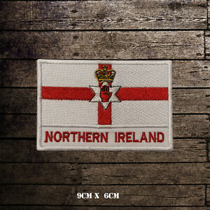 NORTHERN-IRELAND-Flag-With-Name-Embroidered-Iron-On-Sew-On-Patch-Badge