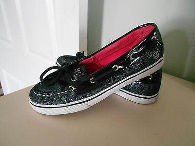 NIB Sperry Top Sider Biscayne 1 Eye Youth Girls Black Sparkle Shoes