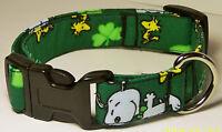Wet Nose Designs Irish Snoopy Dog Collar St Patricks Day Shamrock Dark Green