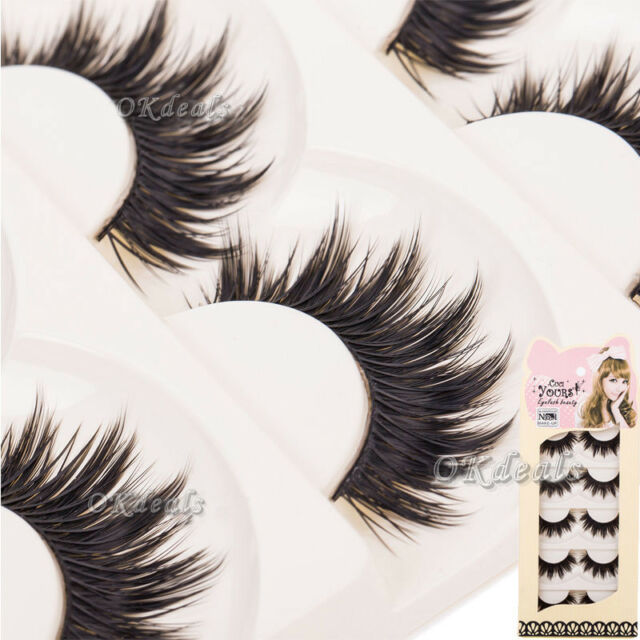 Soft 5 Pairs Long Makeup Cross Thick False Eyelashes Eye Lashes Nautral Handmade