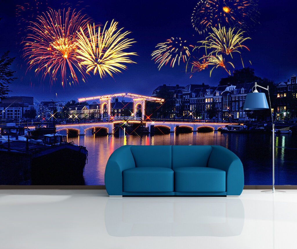3D Fireworks night light Wall Paper Print Decal Wall Deco Indoor wall Mural