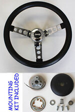 "1976-1995 Jeep CJ5 CJ7 YJ Classic GRANT Black Steering Wheel 13 1/2"" Horn Kit"