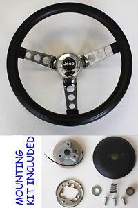 1976-1995-Jeep-CJ5-CJ7-YJ-Classic-GRANT-Black-Steering-Wheel-13-1-2-034-Horn-Kit