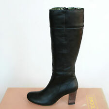 SHOOLA $399 black leather high heel knee-high Viola brogue boots 36/6 NEW