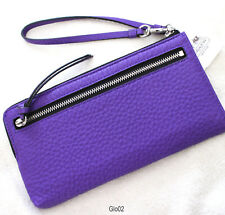 Coach Bleecker Purple Iris Pebbled Leather Zippy Wallet Wristlet Strap 51981