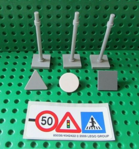LEGO City Traffic Road Signs x3   with  Lego Sticker Sheet New
