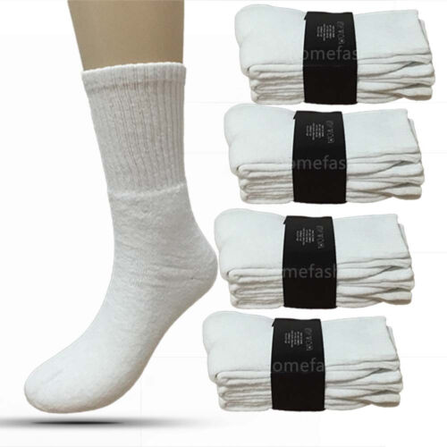 New Lot 3 12 Pairs Mens Sports Athletic Crew Socks Cotton Size 9-11 10-13 White