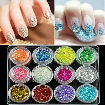 Art Powder 12 Colors Nail Decoration For UV Gel Acrylic Powder Glitter Dust 35DD