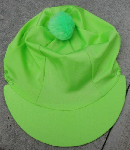 Équitation Chapeau soie tête Cap couverture Uni Vert Citron avec ou sans pompon