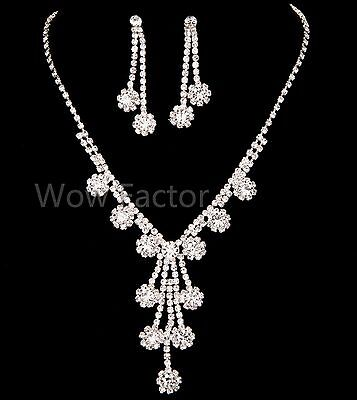 Daisy Flower Diamante Crystal Silver Plated Wedding Bridal  Prom Jewellery Set