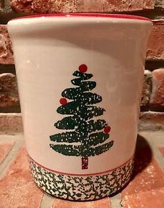 FURIO Christmas Tree Dessert Salad Plate Holiday Spongeware Green /& White Italy