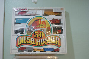 BACHMAN Diesel Hustler Train Set 50 Piece Santa Fe 307 Locomotive,Cars,Track-NEW