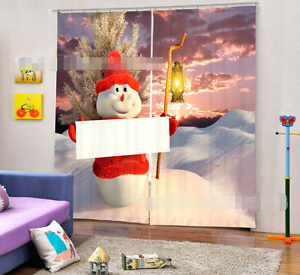 3D Luz Blockout impresión de fotografías Cortina Muñeco de nieve Cortina Para Ventana De Tela CA