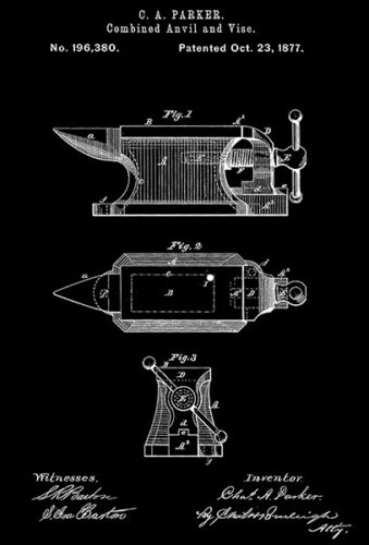 Parker Patent Art Poster 1877 Combined Anvil And Vise C A