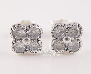 12bdd8ff8 Image is loading ORIENTAL-BLOSSOM-Authentic-PANDORA-Clear-FLOWER-Earring- Studs-