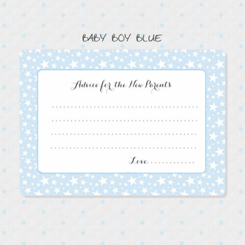 Blue Card 50 Baby Boy Advice Cards New Parents Advice Cards Baby Shower Cards