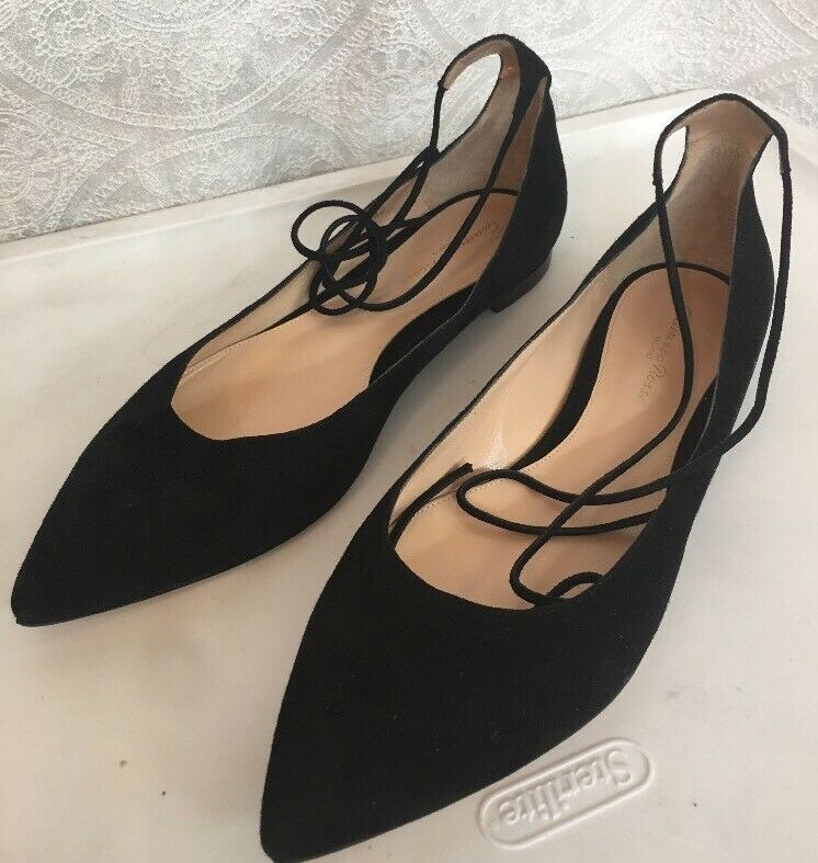 Gianvito Rossi shoe Black  Toe suede Tie Strap Pointed Toe  size 40 New ae4537