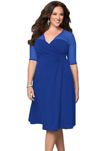 Ladies-Sexy-Sugar-amp-Spice-Sheer-Evening-Party-Pencil-Blue-Dress-Plus-Size-14