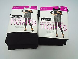 f895783f87240 No Nonsense 2 Pair of Brushed Footless Tights Black/CObblestone ...