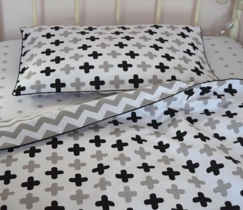 Baby Cot Bed Duvet Cover BEDDING SET Grey Black swiss cross chevron  BUMPER