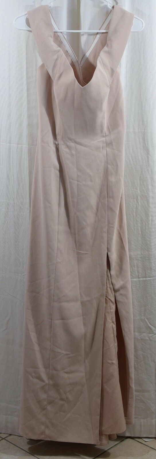 Dessy Collection Crepe Trumpet Full Length Off The Shoulder Cameo Size 6