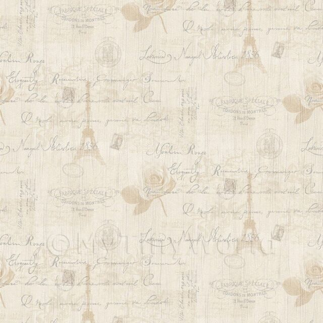 Dolls House Miniature Beige Vintage French Themed Wallpaper