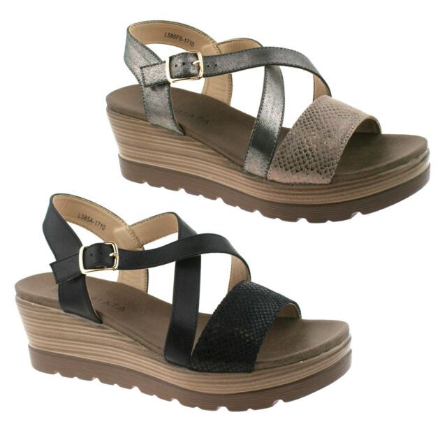 f0523dce1 LADIES CIPRIATA BLACK AND PEWTER CROSSOVER STRAP WEDGE SANDALS L585 KD