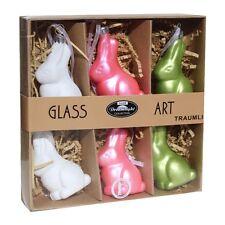 6 Gilde Osterhasen Baumbehang Glas Mundgeblasen Osterdeko Dekoration Ostern 2