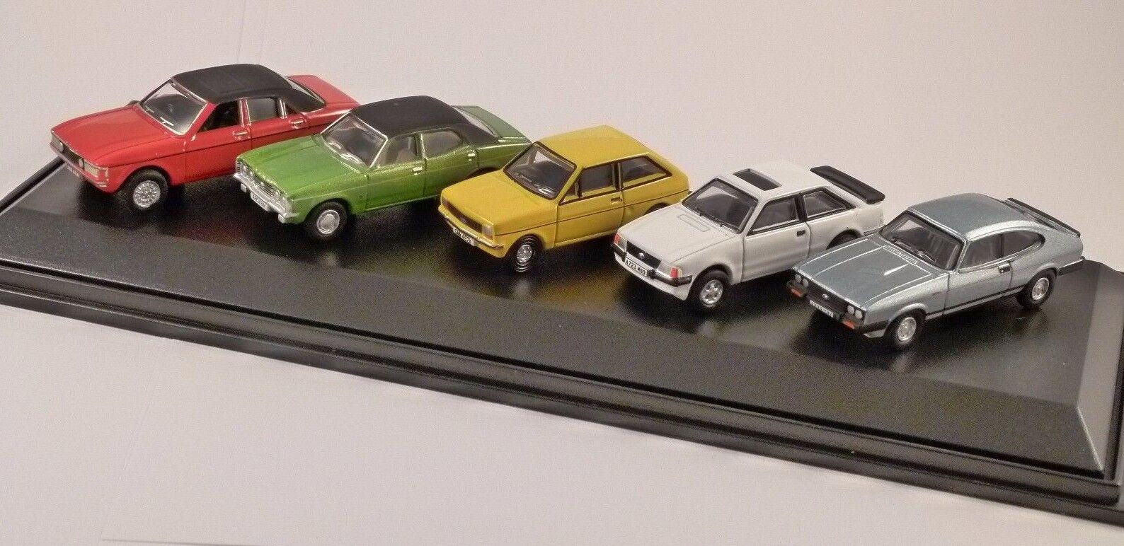 FORD 5 CAR SET - Cortina, XR3, Fiesta, Capri  1 76 scale model OXFORD DIECAST