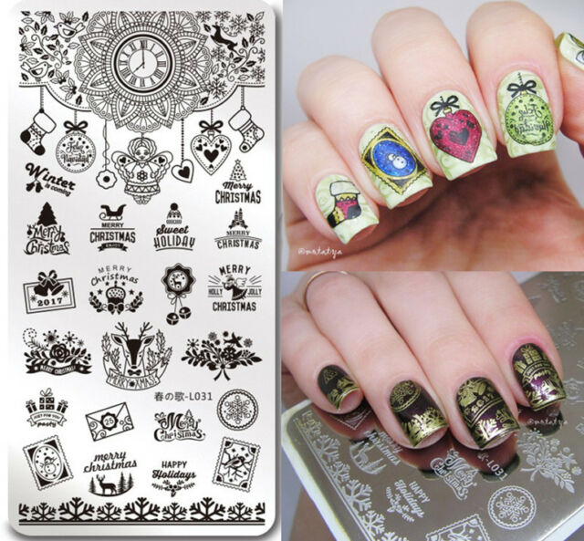 Christmas Nail Art Stamp Plate Winter Holiday Theme Manicure Template Harunouta