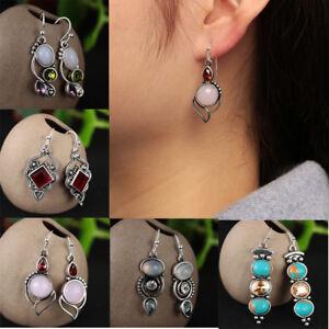 Women-Rainbow-Moonstone-amp-Peridot-amp-Amethyst-amp-Turquoise-Pendant-Earrings-Hot