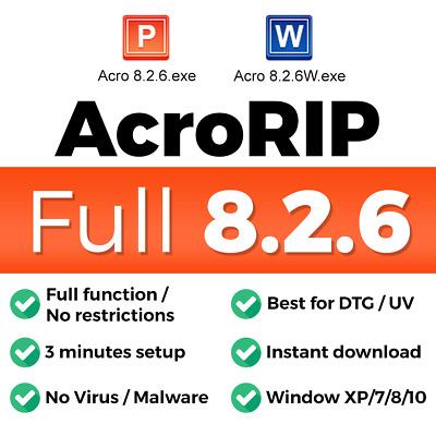 AcroRIP 8 2 6 Full version for DTG UV printing software color for Epson  printers | eBay