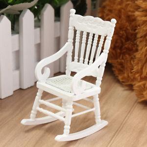 1 12 Dollhouse Miniature Furniture White Wooden Rocking Chair Hemp
