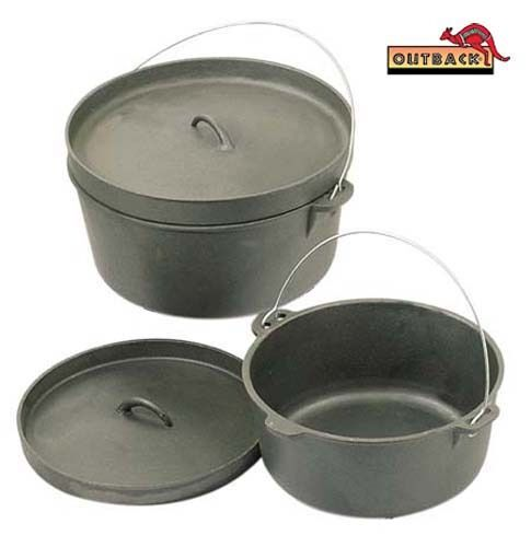 Outback 12 Quart Cast Iron Dutch Camp Oven Heavy Duty Pot Pan Camping Cookware