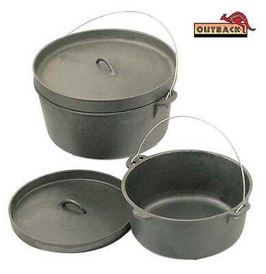 16 Qt Cast Iron Camp Dutch Oven Lipped Lid PreSeasoned Camping Cooking Pot Large