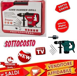 TRAPANO-MARTELLO-DEMOLITORE-32mm-1250-W-TRE-FUNZIONI-CON-VALIGETTA-SDS-E-PUNTE