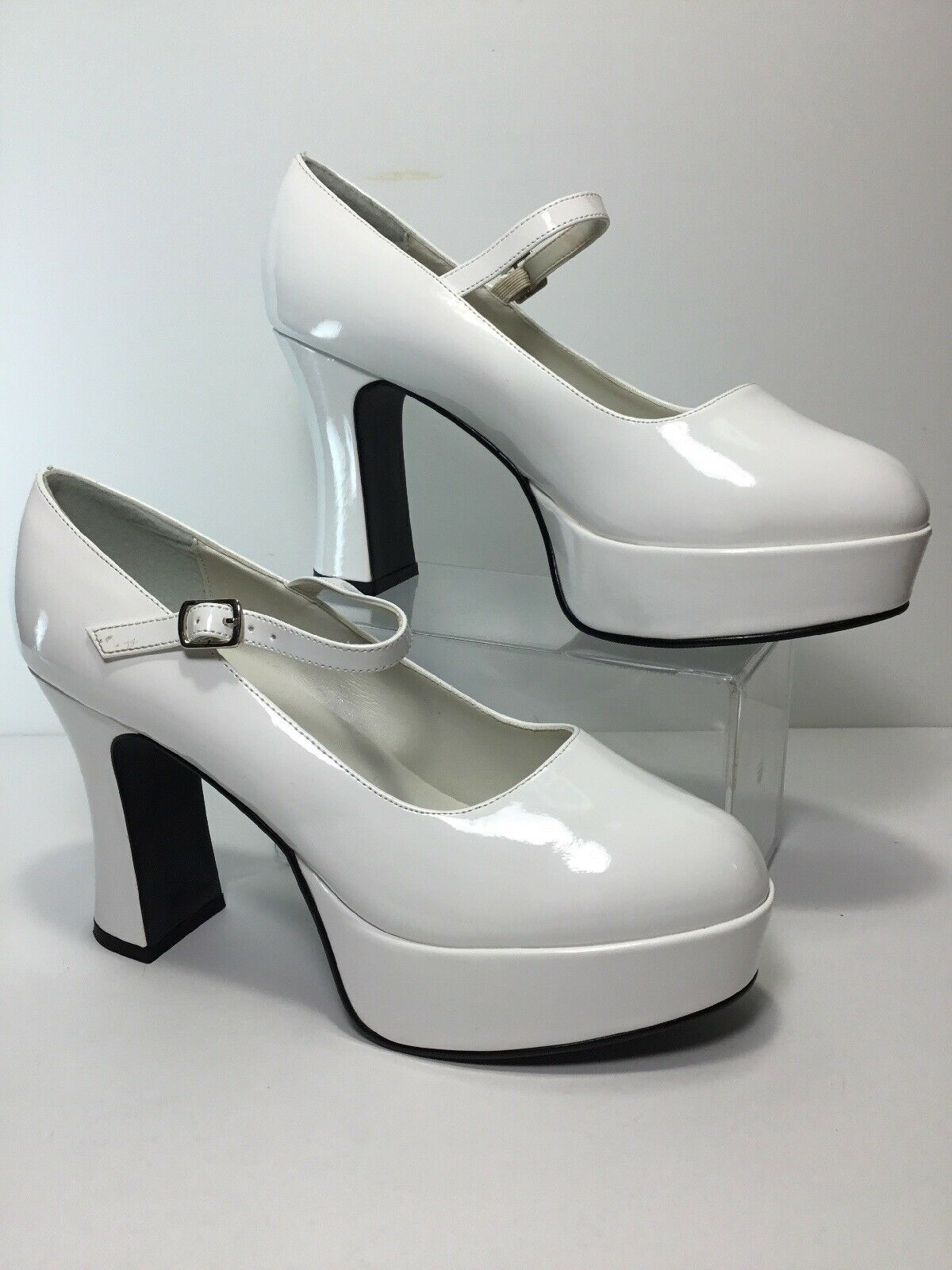 """4/"""" Red Mary Janes Pinup Mens Drag Crossdresser Costume Ruby Slippers Shoes Heels"""